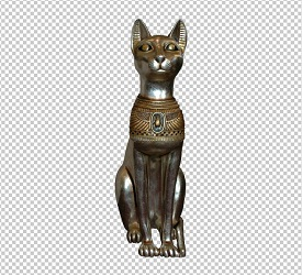 Клипарт египетская статуэтка кошки, для Фотошоп в PSD и PNG, без фона