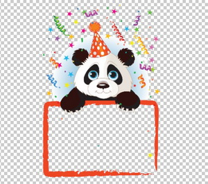 Клипарт панда, рамка для Фотошоп в PSD и PNG, без фона
