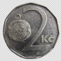 Клипарт монета 2 кроны Чехия, для Фотошоп в PSD и PNG, без фона