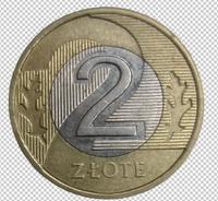 Клипарт монета 2 злотых Польша, для Фотошоп в PSD и PNG, без фона