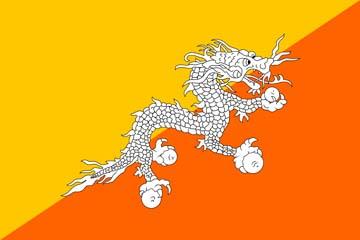 Клипарт флаг Королевства Бутан, для Фотошоп в PSD и PNG, без фона