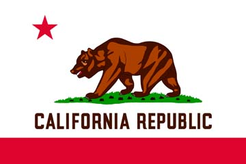 Клипарт флаг Калифорнии (штат США), для Фотошоп в PSD и PNG, без фона