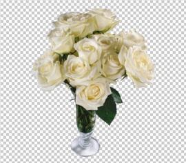 Клипарт цветы — белые розы в вазе, для Фотошоп в PSD и PNG, без фона
