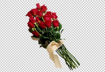 Клипарт цветы — букет красных роз, для Фотошоп в PSD и PNG, без фона