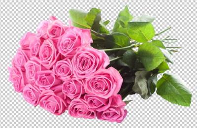 Клипарт цветы — букет розовых роз, для Фотошоп в PSD и PNG, без фона