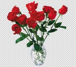 Клипарт цветы — букет красных роз в вазе, для Фотошоп в PSD и PNG, без фона