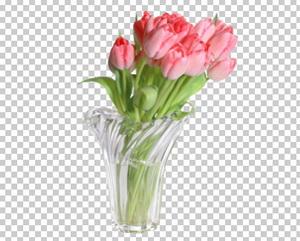 Клипарт цветы — розовые тюльпаны в вазе, для Фотошоп в PSD и PNG, без фона