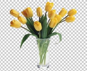 Клипарт цветы — желтые тюльпаны в вазе, для Фотошоп в PSD и PNG, без фона