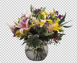 Клипарт лилии в вазе, для Фотошоп в PSD и PNG, без фона