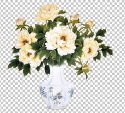 Клипарт пионы белые в вазе, для Фотошоп в PSD и PNG, без фона
