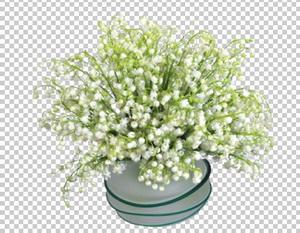 Клипарт ландыши белые в вазе, для Фотошоп в PSD и PNG, без фона