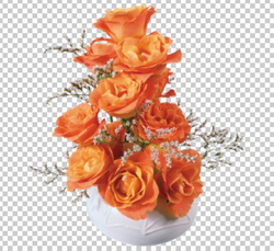 Клипарт цветок — оранжевые розы в вазе, для Фотошоп в PSD и PNG, без фона