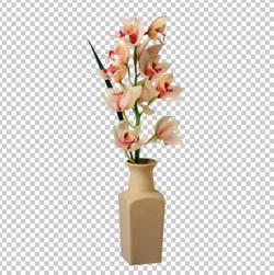 Клипарт орхидея в вазе, для Фотошоп в PSD и PNG, без фона