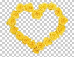 Клипарт цветок — сердечко из желтых роз, для Фотошоп в PSD и PNG, без фона