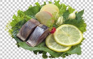 Клипарт селедка с лимоном, для Фотошоп в PSD и PNG, без фона