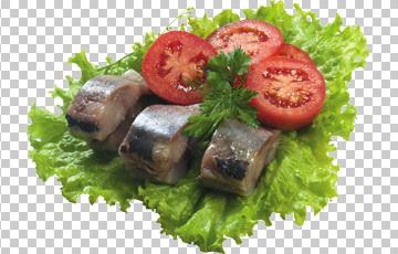 Клипарт селедка с помидорами, для Фотошоп в PSD и PNG, без фона