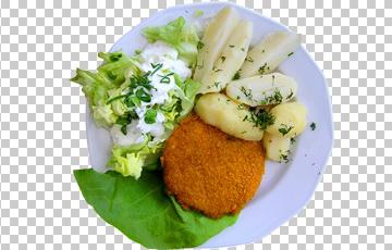 Клипарт биточек с гарниром и салатом, для Фотошоп в PSD и PNG, без фона