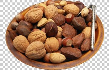 Клипарт орехи в тарелке, для Фотошоп в PSD и PNG, без фона