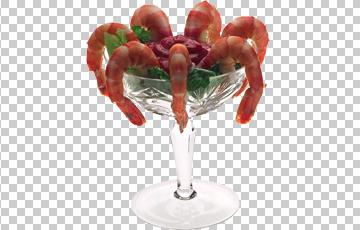 Клипарт креветки в вазе, для Фотошоп в PSD и PNG, без фона