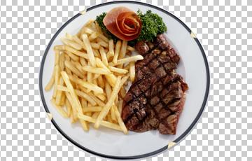 Клипарт отбивная и картофель фри, для Фотошоп в PSD и PNG, без фона