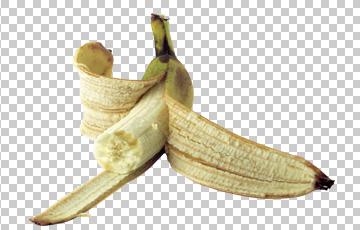 Клипарт укушеный банан, для Фотошоп в PSD и PNG, без фона