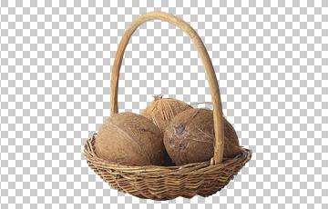 Клипарт кокосы в корзине, для Фотошоп в PSD и PNG, без фона