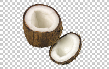 Клипарт открытый кокос, для Фотошоп в PSD и PNG, без фона