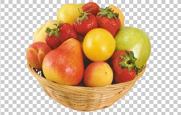 Клипарт корзина с фруктами, для Фотошоп в PSD и PNG, без фона