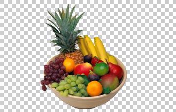 Клипарт фрукты в миске, для Фотошоп в PSD и PNG, без фона