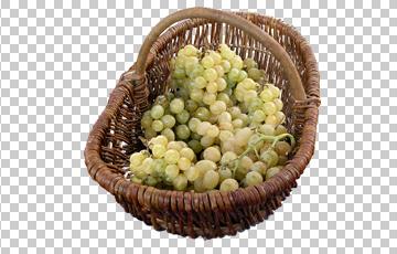 Клипарт корзина винограда, для Фотошоп в PSD и PNG, без фона