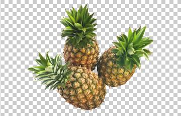 Клипарт три ананаса, для Фотошоп в PSD и PNG, без фона