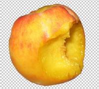 Клипарт укушеный персик, для Photoshop в PSD и PNG, без фона