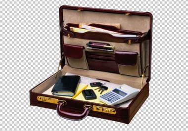 Клипарт чемодан (кейс, дипломат) с канцелярией, для фотошоп, PSD PNG без фона