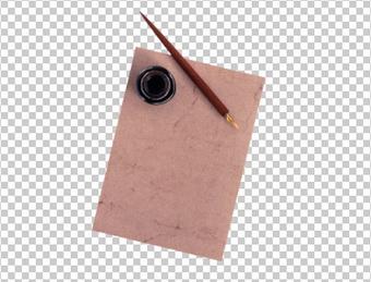 Клипарт бумага, чернильница и перьевая ручка, для Фотошоп в PSD и PNG, без фона