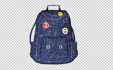 Клипарт рюкзак (ранец), для Фотошоп в PSD и PNG, без фона