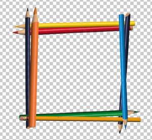 Клипарт рамка из карандашей, для Фотошоп в PSD и PNG, без фона