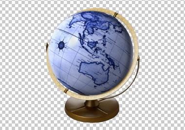 Клипарт глобус, для Фотошоп в PSD и PNG, без фона