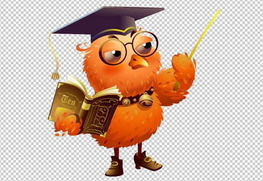 Клипарт ученая сова, для Фотошоп в PSD и PNG, без фона