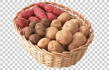 Клипарт картофель в корзине, для Фотошоп в PSD и PNG, без фона