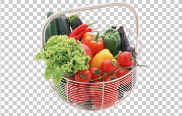 Клипарт овощи в корзине, для Фотошоп в PSD и PNG, без фона