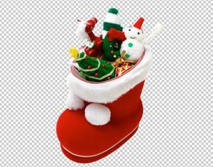 новогодний сапожок с подарками, PNG без фона PSD