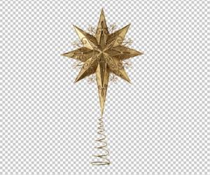 Клипарт новогодняя звезда, в PNG и PSD, без фона