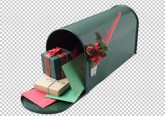 Клипарт почтовый ящик и подарки, в PNG и PSD, без фона
