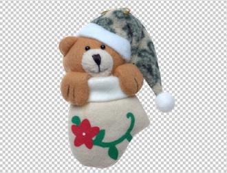 медвежонок на новый год, PNG без фона